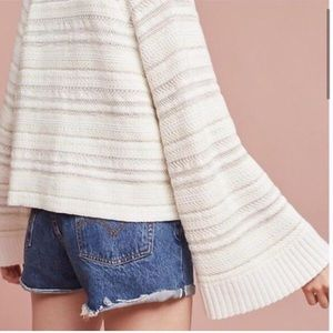 Anthropologie Knit Flare Sleeve Striped Sweater